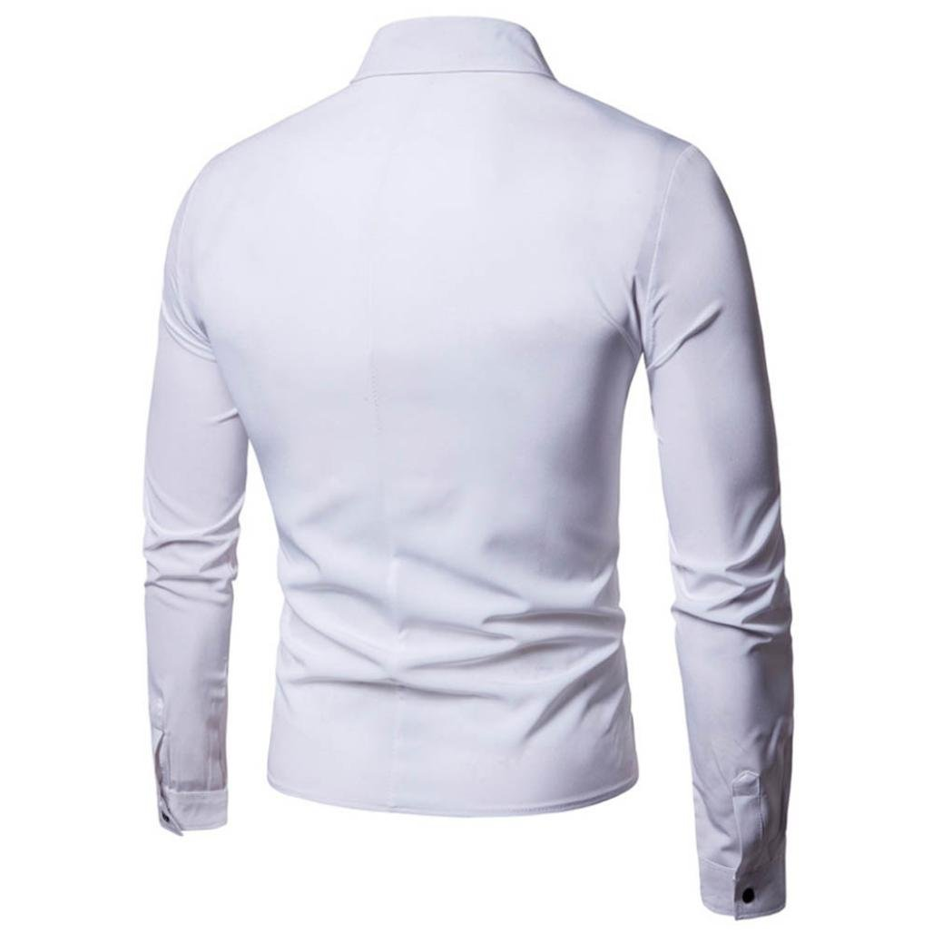 Oucan Fashion Mens Casual Slim Long-sleeved button Solid Shirt Top Blouse