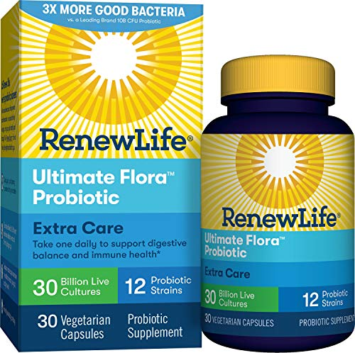 Renew Life Adult Probiotics 30 Billion CFU Guaranteed, 12 Strains, For Men & Women, Shelf Stable, Gluten Dairy & Soy Free, 30 Capsules, Ultimate Flora Extra Care