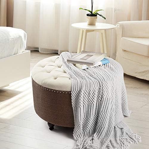Adeco 28'' Round Ottoman Footstool