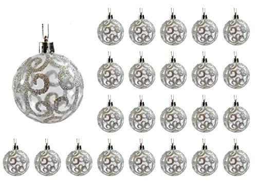 Silver Ball Ornament - Festive Season 24pk 60mm Transparent Swirl Christmas Tree Ball Ornaments, Silver