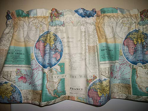 World Maps Globes library mancave office america fabric curtain topper Valance