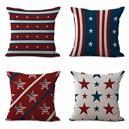 WholesaleSarong set of 4 cushion covers nautical U.S. American flag patriotic decorative throw pillow case for couch]()