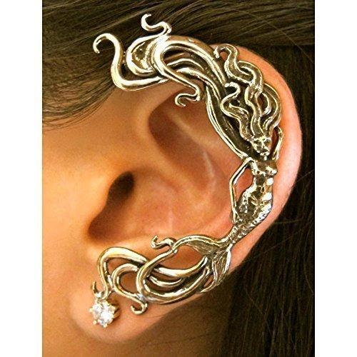 (Mermaid Ear Cuff Bronze Siren Jewelry Elf Ear Wrap)