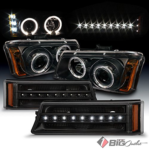 Chevy Avalanche Aftermarket - Xtune For 2003-2006 Chevy Silverado, 2003-2005 Avalanche Black Halo Projector Headlights + LED Strip Bumper Lights 2004 2005