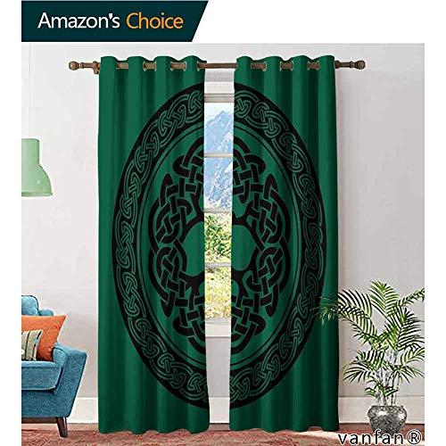 (LQQBSTORAGE Celtic,Curtains Insulated,Monochrome Tree of Life Illustration with Ancient Timeless European Motif,Blackout Thermal Insulatedgrommet Curtain Panel Set of 2,Forest Green Black)