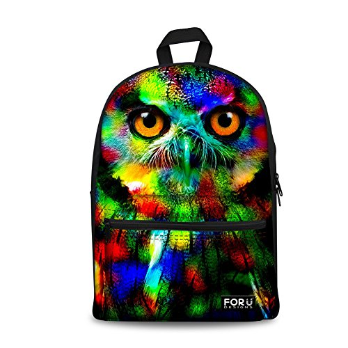 FOR U DESIGNS Cute Camo Owl Backpack Canvas Durable School Book Bags for Girls (New Book School Bag)