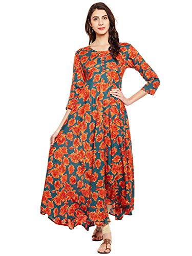 Tissu Women's Rayon Floral Printed Flared Kurta with Buttons XS Multi