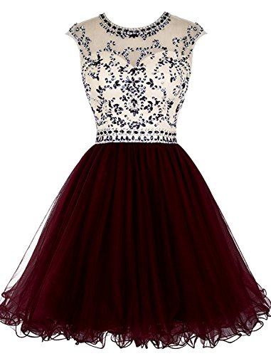 afa6c917fda Tideclothes ALAGIRLS Beaded Homecoming Dress Short Tulle Prom Cocktail Gowns  Hollow Back Burgundy US4