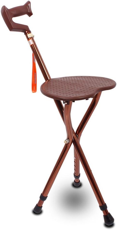 アルミニウム 三脚 折り畳み式 軽量 折りたたみ 3脚杖, 調節可能な高さ 歩行補助杖 スリップ 松葉杖 誘拐します。 の 高齢者 障害者-コーヒー