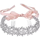 EVER FAITH Austrian Crystal Elegant Floral Leaf Ribbon Heart Shape Hair Band with Combs Clear