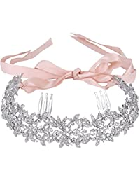 Ever Faith Austrian Crystal Elagant Floral Leaf Ribbon Heart Shape Double Hair Comb Clear