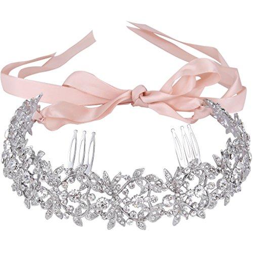 Austrian Crystal Ribbon - EVER FAITH Silver-Tone Austrian Crystal Elegant Floral Leaf Ribbon Heart Shape Hair Band with Combs Clear