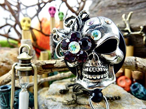 Skull Badge Holder Halloween ID Clip Retractable Reel Sugar Skull Goth Gothic Rhinestone Skeleton Freaky Punk Creepy Badass Spooky Trick or Treat Scary Gift for Her Bling Crystal Fancy Nurse RN 141