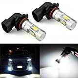 JDM ASTAR 2520 Lumens Extremely Bright PX Chips H10 9140 9145 LED Fog Light Bulbs with Projector for DRL or Fog Lights, Xenon White