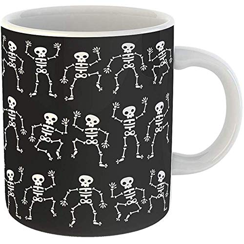 Coffee Tea Mug Gift 11 Ounces Novelty Ceramic Cartoon of Dancing Skeletons Black Halloween Skull Gifts For Family Friends Coworkers Boss Mug -