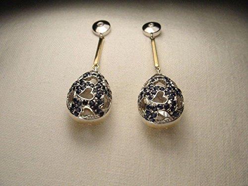 Tone Gold 14k Sapphire Two (Stunning 14K 2-Tone Two-Tone Gold Sapphire Diamond Hearts Filigree Drop Earrings)