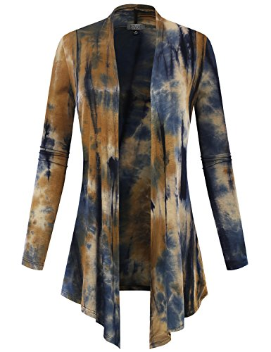 ALL YOURS Women Open Front Lightweight Cardigan Tie-Dye Taupe - Cardigan Front Zipper