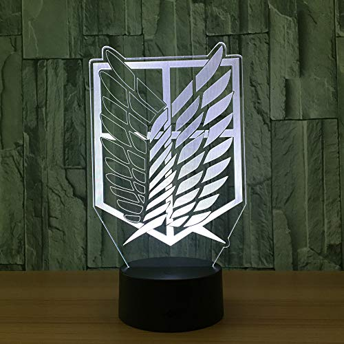 Nightlight Color Changing Home Decor Table Attack on Titan Badge 3D LED Lamp Novelty 3D Visual Night Light for Child Gift