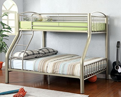 Collection Bunk (Lovia collection metallic gold finish Twin over Full bunk bed set with clean straight lines design)