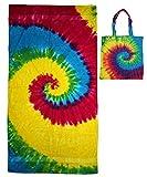 Colortone Rainbow Tye Dye Beach Towel and Rainbow Tye Dye Tote Bag Multi-Pack Gift Set