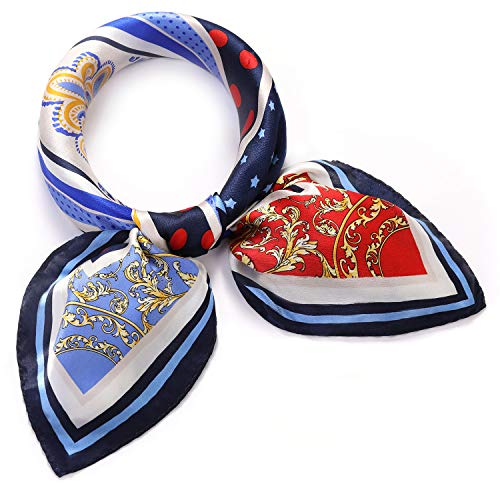 SILIQUE 100% Mulberry Silk Small Scarfs, Small Square Scarves For Women, Paisley Small Silk Scarves Blue, Real Silk Neck Scarf Navy, Small Neck Scarf Silk, Blue Silk Neckerchief Women 21X21