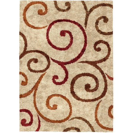 Swirl Garden - Better Homes and Gardens Swirls Soft Shag Area Rug or Runner, Size:5' x 7', Actual Color: Beige