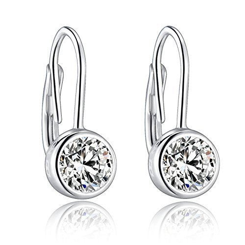 Sterling Silver Lever Back Earrings With Two 5mm/0.8ct Bezel-Set Hearts & Arrows Cutting Simulated Diamonds For Sensitive Ears By Renaissance ()
