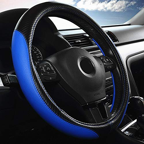 Labbyway Car Universal 15-inch Microfiber Steering Wheel Cover,Anti-Slip,Odorless,Four Seasons Universal (Blue) (2018 Mustang Gt Wheels)