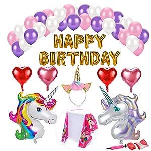Konsait Unicornio Globos de Fiesta de cumpleaños Decoración Kit, Pancartas Happy Birthday Globos, 4 Corazón, 30 Globos de látex Helio, 1 Corona para ...