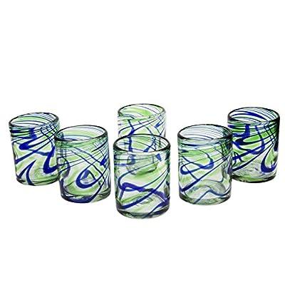 NOVICA Blue and Green Hand Blown Glasses, 13 oz, 'Elegant Energy' (set of 6)