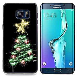 Stuss Case / Funda Carcasa protectora - Árbol Negro Estrella Luces Negro - Samsung Galaxy S6 Edge Plus / S6 Edge+ G928