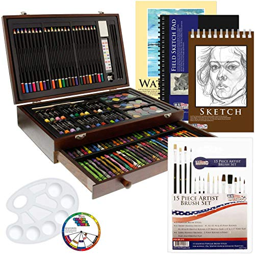 US Art Supply 162 Piece-Deluxe Mega Wood Box Art, Painting & Drawing Set That Contains All The Additional Supplies You Need to get - Drawing Supplies Art