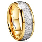 King Will 8mm 14K Gold Plated Domed Tungsten Carbide Ring Imitated Meteorite Band Ring (11)