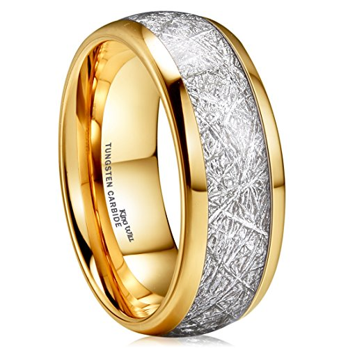(King Will Meteor 8mm 14K Gold Plated Domed Tungsten Carbide Ring Imitated Meteorite Wedding Band(9))