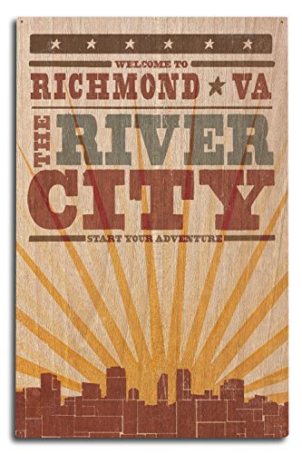- Lantern Press Richmond, Virginia - Skyline and Sunburst Screenprint Style (10x15 Wood Wall Sign, Wall Decor Ready to Hang)