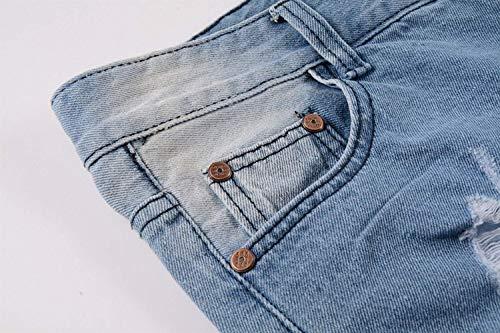 Blu Especial Uomo Media Slim Pantaloni Dritti Da Estilo Jeans Strappati Vita Fashion Fori A Fit Elasticizzati AfIqWZ8