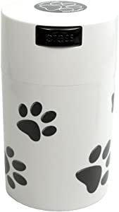 Pawvac 6 Ounce Vacuum Sealed Pet Food Storage Container; White Cap & Body/Black Paws