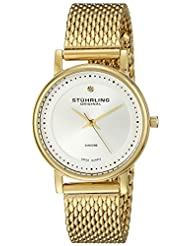 Stuhrling Original Women's 734LM.04 Classic Ascot Casatorra Elite Swiss Quartz Genuine Diamond Gold Tone Mesh Bracelet Watch