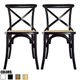 2xhome Set of 2 Black Mid Century Modern Farmhouse Antique Cross Back Chair With X Back Assembled Solid Real Wooden Frame Antique Style Dining Chair Side For Accennt Chair Woven Kitchen Task Work Desk For Sale