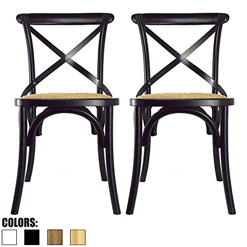 - 2xhome Set of 2 Black Mid Century Modern Farmhouse Antique Cross Back Chair With X Back Assembled Solid Real Wooden Frame Antique Style Dining Chair Side For Accennt Chair Woven Kitchen Task Work Desk