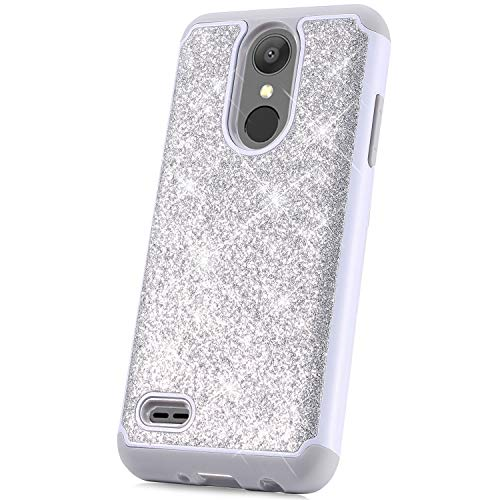 Case for LG Aristo 2/Aristo 2 Plus/Aristo 3/Aristo 3 Plus/Tribute Dynasty/Tribute Empire/Fortune 2/Phoenix 4/K8 2018 Case, Glitter Sparkle Bling Heavy Duty Hard Shell Silicone TPU Case Cover, Silver