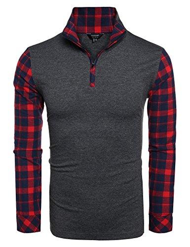 Coofandy Men's Casual Long Sleeve Plaid Shirt Zipper Polo Shirts,Dark - Polo Shirt Denim Sleeve Long