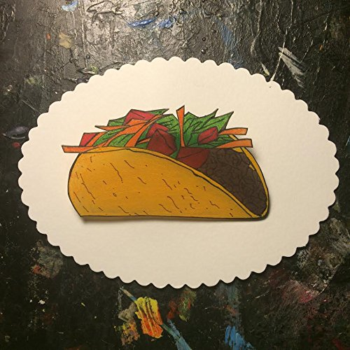 Amazon.com: Taco Supreme Hand Drawn Shrink Plastic Brooch Pin Back ...