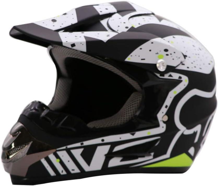 L QIUMS Casques Motocross Enfant /&Adulte Casque de Moto de Bicyclette ATV ECE 22-05 Approbation (Les Gants et Les Lunettes sont fournis avec.)