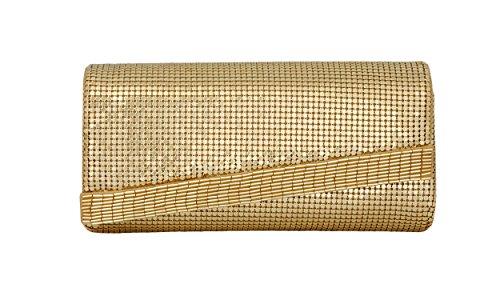 Whiting & Davis Beaded Edge 1-5847GL Clutch,Gold,One (Davis Metal Mesh Clutch)