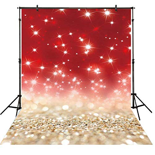 Funnytree 5x7ft Gold Red Glitter Bokeh Photography Backdrop Christmas Shiny Sparkle Background Baby Portrait Party Decorations Photobooth Banner Photo Studio Props