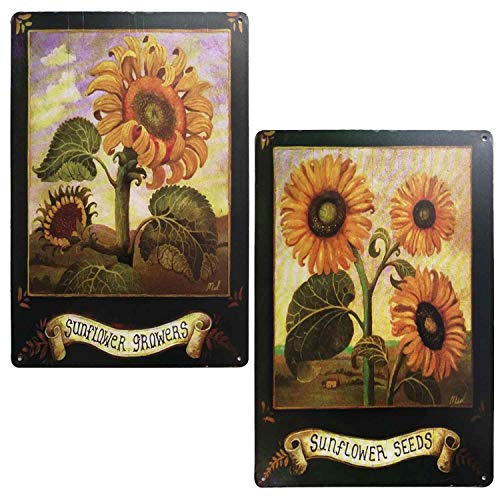 TISOSO Sunflower Growers Vintage Style Tin Sign Country Home Decor Wall Art Posters and Prints Home Office Decoration 2Pcs-8X12Inch (Signs Seed Vintage)