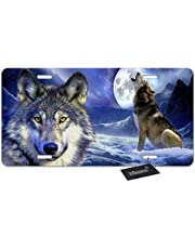 WONDERTIFY License Plate Wolf Howl on The Snow Mountain and Full-Moon Night Decorative Car Front License Plate,Vanity Tag,Metal Car Plate,Aluminum Novelty License Plate,6 X 12 Inch (4 Holes)