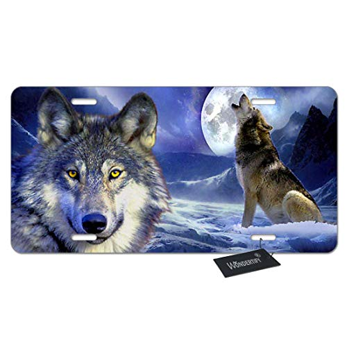 (WONDERTIFY License Plate Wolf Howl on The Snow Mountain and Full-Moon Night Decorative Car Front License Plate,Vanity Tag,Metal Car Plate,Aluminum Novelty License Plate,6 X 12 Inch (4 Holes))