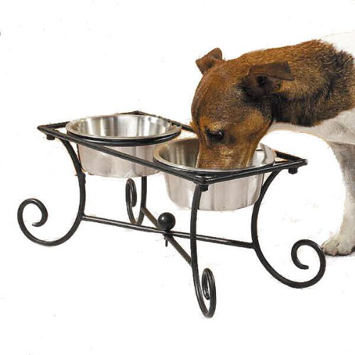 Pet Studio Wrought Iron Raised Dog Diner with 2 Bowls (2-Quart)